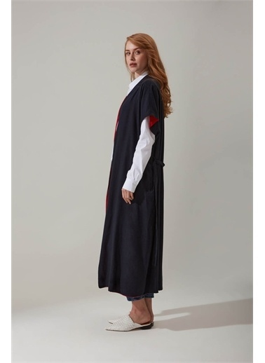 Mizalle Keten Lacivert Kimono Lacivert